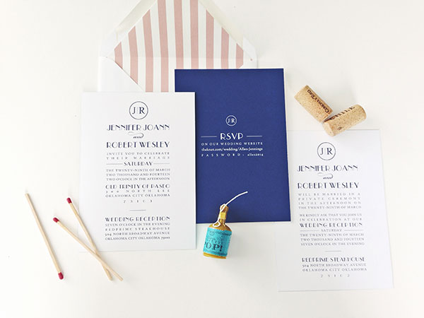 a modern navy blush wedding invitation cari marie