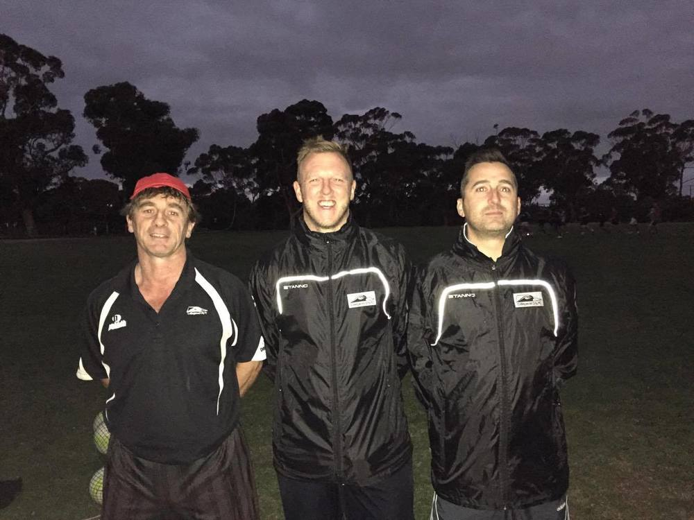 L-R: Goalie Coach Rich Garnett, Senior Team Coach Richard Bates, and Reserve Team Coach Ross Evans
