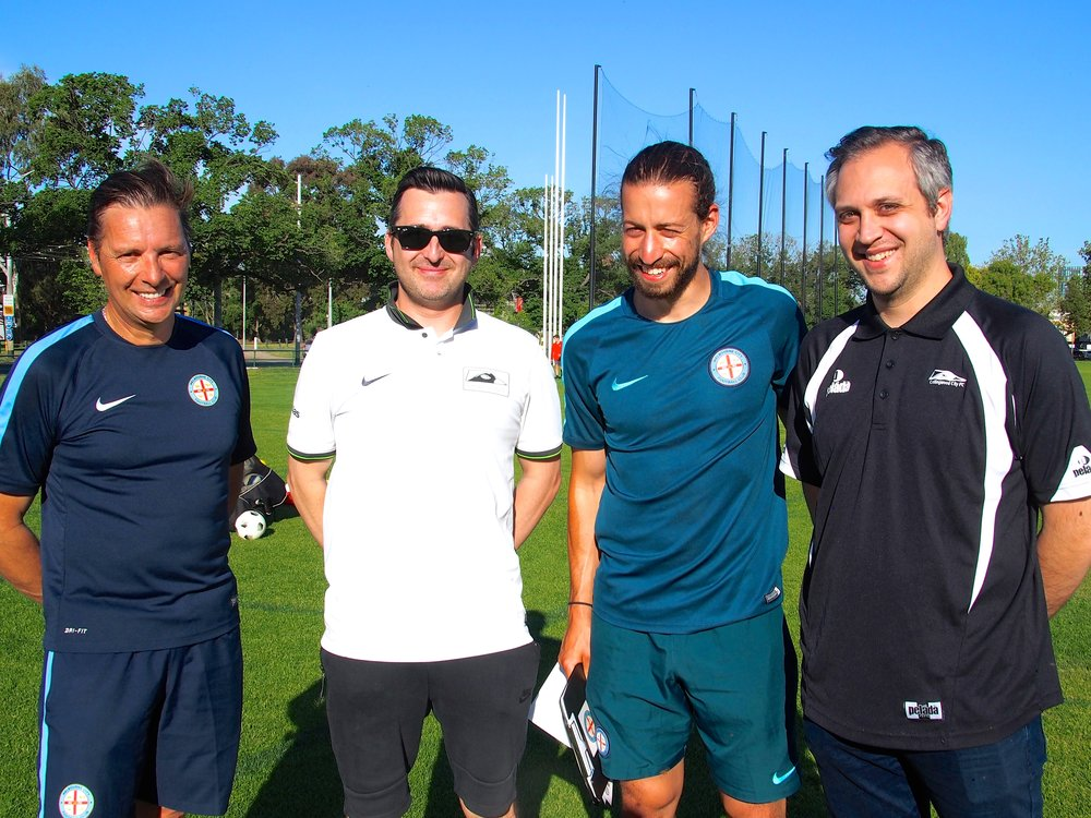 Collingwood's Ross Evans and Drew Dickson thank Melbourne City coaches, Oliver Schulze and Adam Centofanti, for the training session