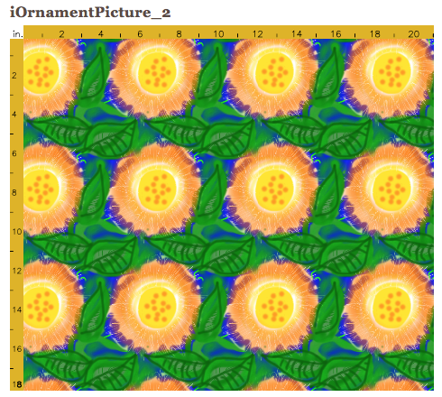 Tiled and ready to have printed drawing of sunflowers (Susie's)