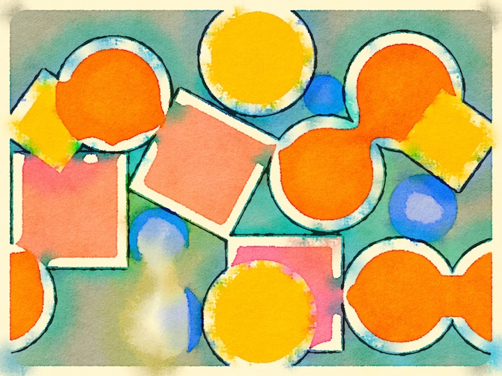 Geometric design don in a children's shape app, taken through Waterlogue.