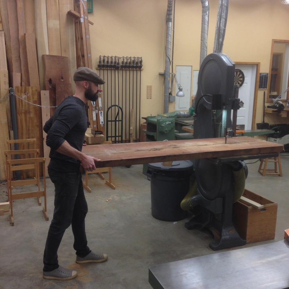 Jake cuts Claro walnut