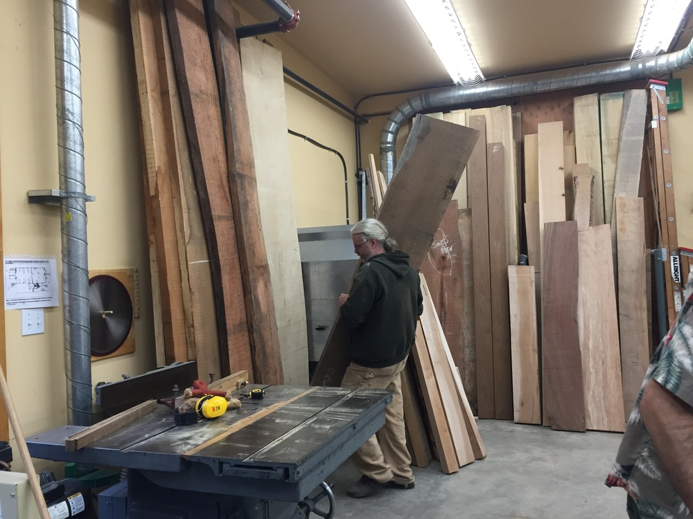 Robert re-organizes our wood selection