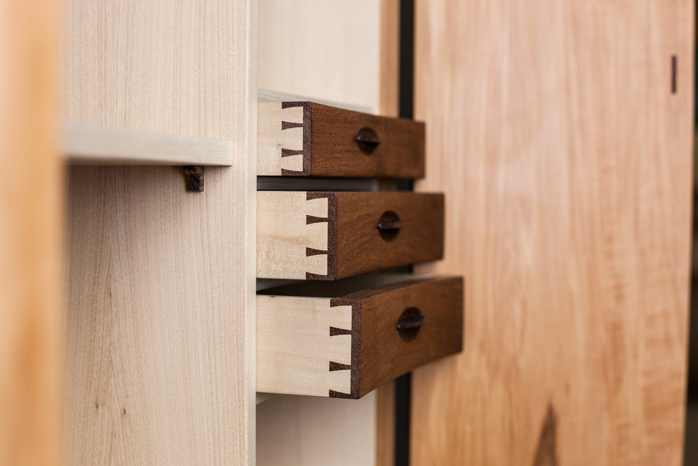 Drawer detail of Composing Cabinet by  Refeal Greenblatt   Photography by Tim Andries