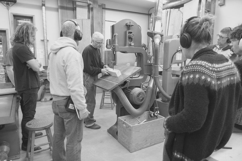 Robert making rotation cut on the bandsaw