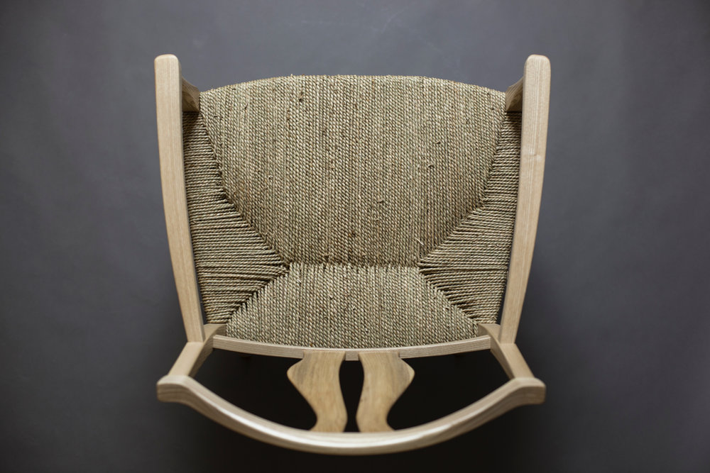 Vidar's chair in ash with seagrass seat by Andi Pfister photography by Tim Andries