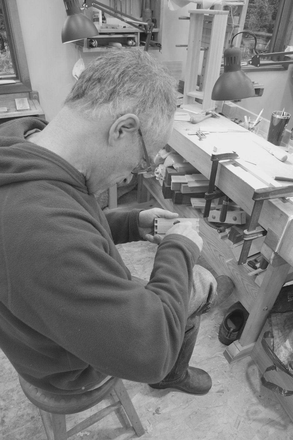 David carving a pull for his drawer in European cherry