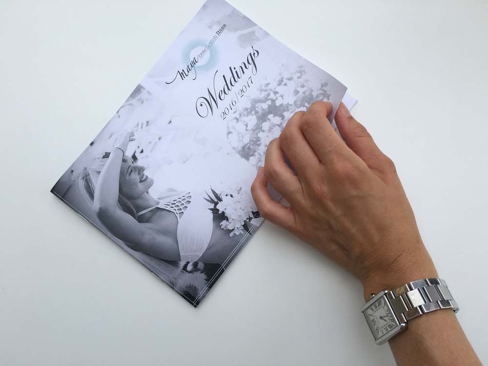 Front cover of the wedding brochure given to all wedding concierge on the island