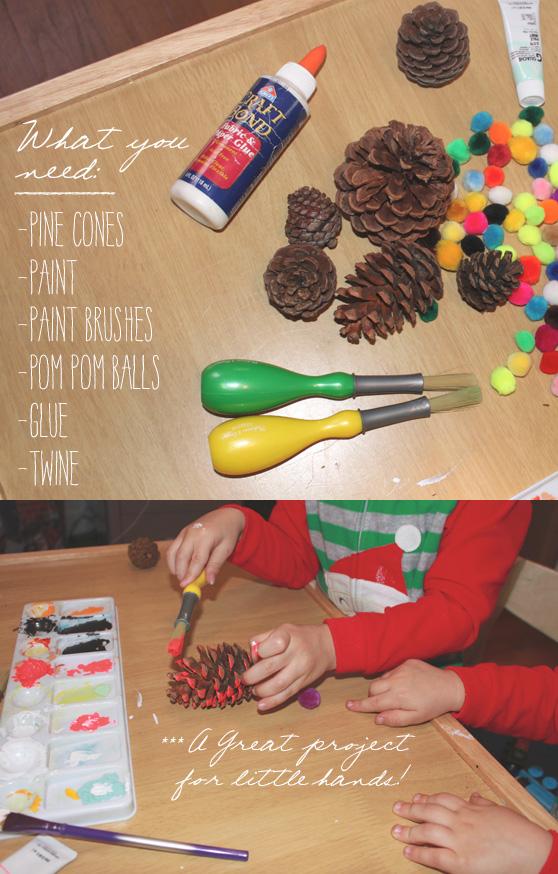 DIY Pom Pom Pine Cones on Cheeky Design