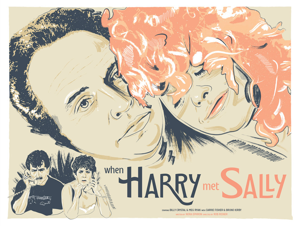 When Harry Met Sally poster - This film poster design was created for the Secret 35mm Movie Club screening of When Harry Met Sally. The Los Angeles based movie club showcases classic and eclectic films at the historic Vista Movie Theater in Silverlake. I'm super jazzed to be working with them. I channeled a 1960's, Italian lobby card style for one of my absolute favorite romantic comedies.See More Work >