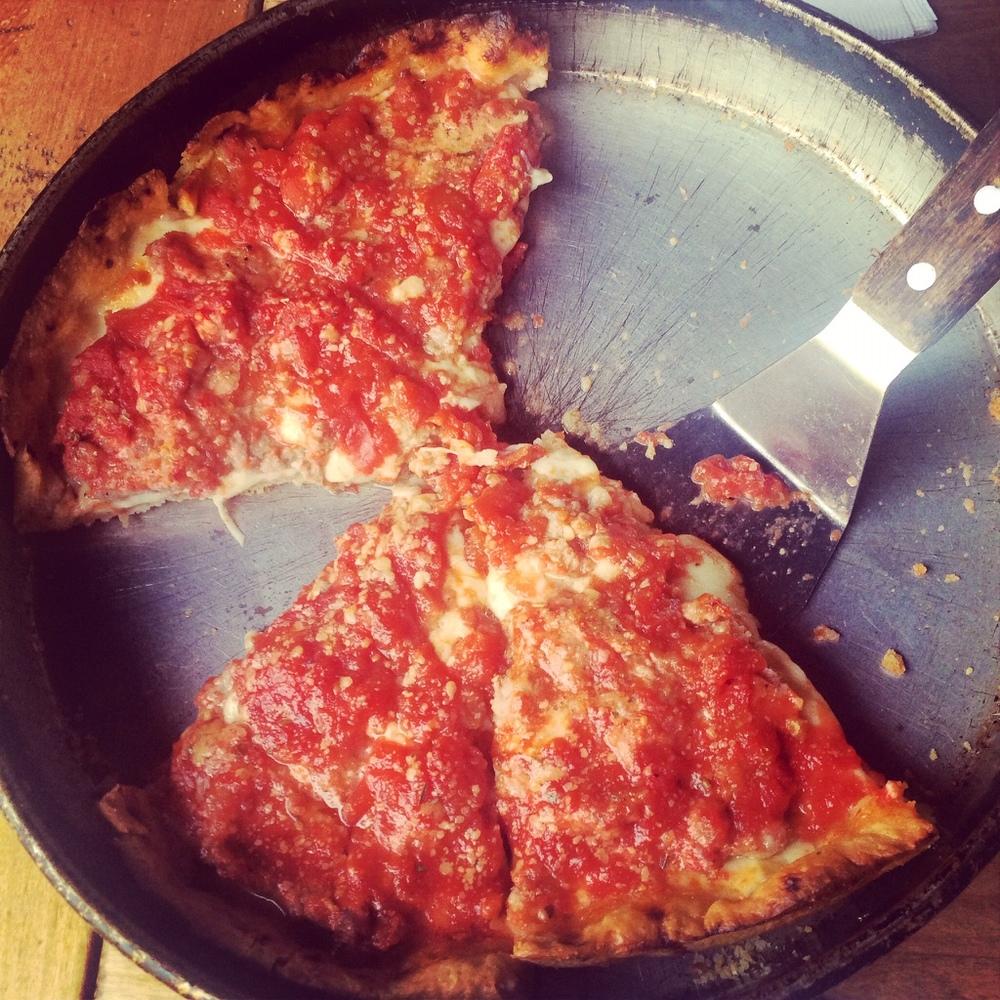 Deep dish pizza at Lou Malnati's.