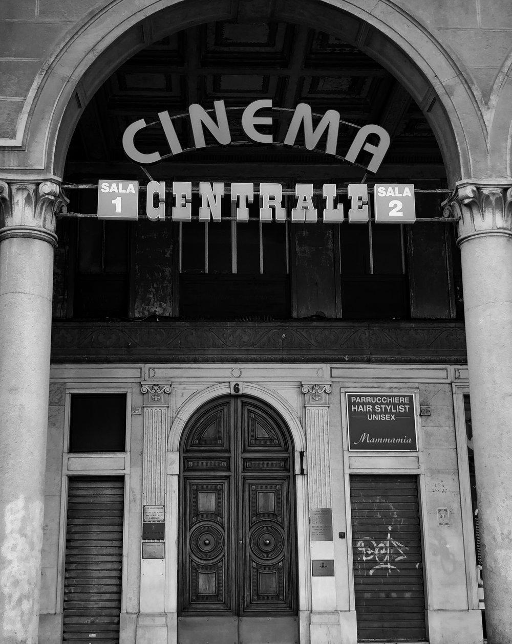 Historic Genova cinema center in Italy 🇮🇹  #italy   #genova  #historic   #cinema   #film   #sound   #europe   #photography   #monochrome   #blackandwhite   #iphone   #canon   #adobe  #fashion   #vogue   #movies    #italian cinema