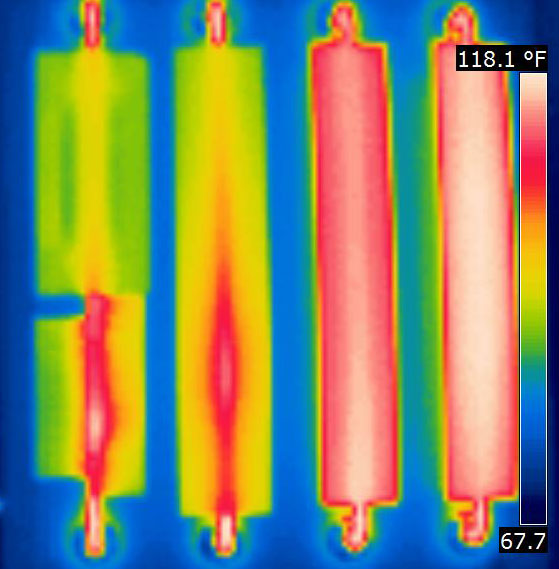 infraRed image showing the 5 samples at equilibrium with 68°F air temperature  Click to enlarge