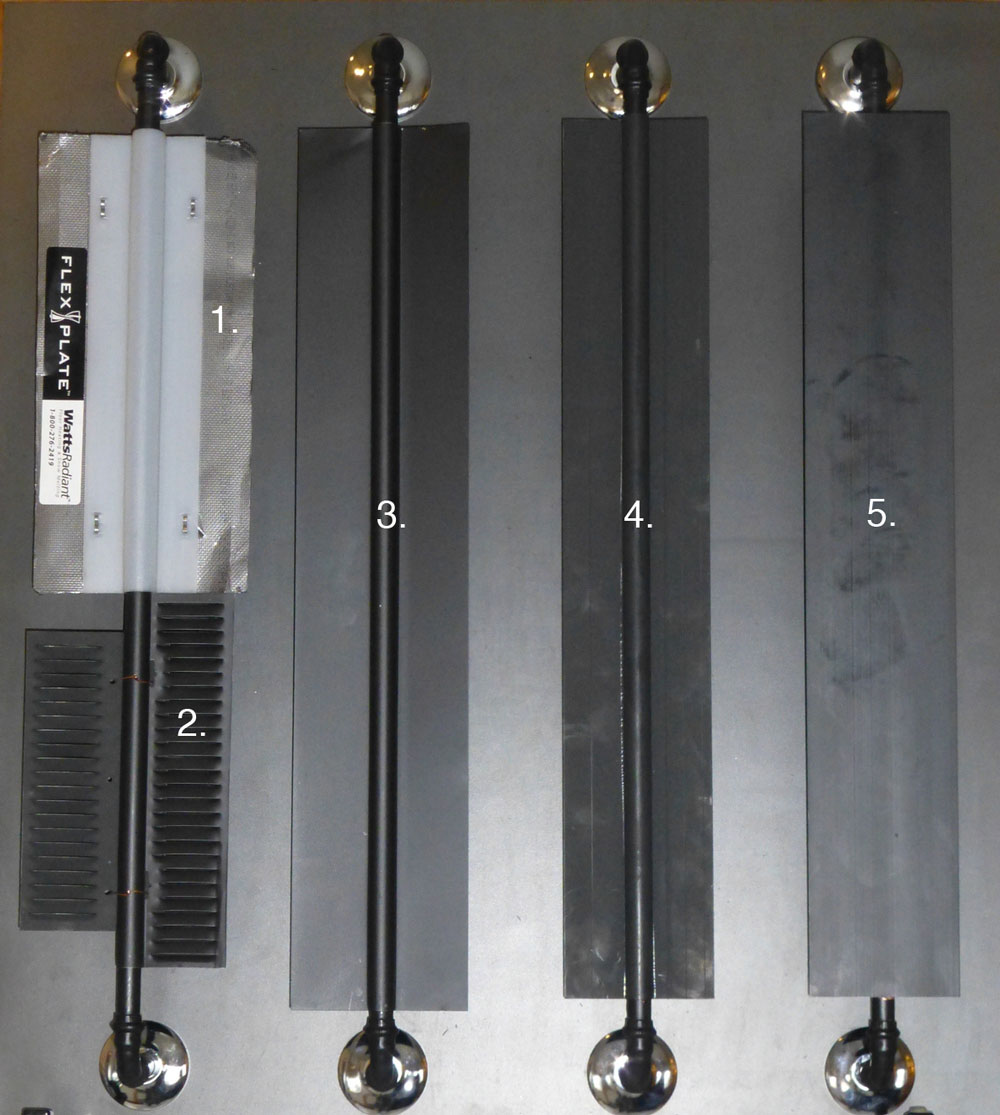 "1. Graphite sheet with stapled on polyethylene support  2. ""Ultra-Fin"" louvered plates 5.5"" wide x .015"" thick  3. ""Omega"" plate 4.75"" wide x .015"" thick  4. ThermoFin U 4"" wide x .050"" thick extruded plate  5. ThermoFin C 4"" wide x .0625"" thick extruded plate  Click to enlarge"