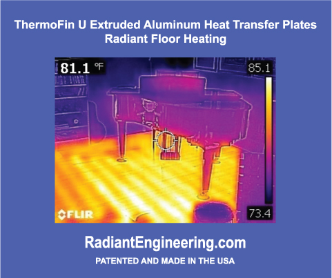 An infrared camera shows the radiant heat from ThermoFin U plates in this music room.