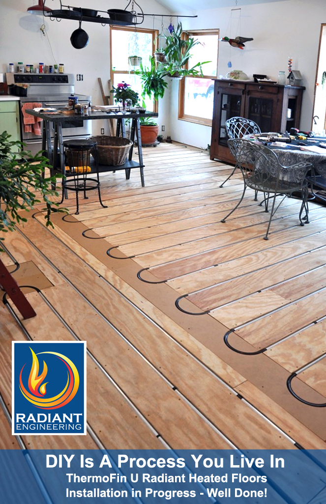 The finish flooring will come later in this home owner's project. They installed the radiant heating and moved furniture back in until the flooring installation. DIY is a process!