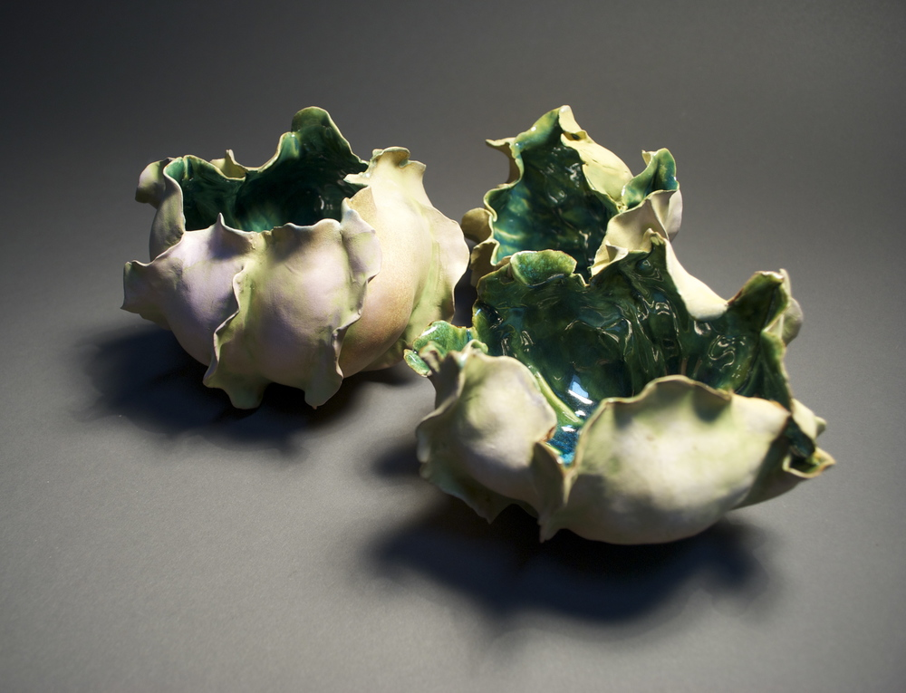 Petal Pot Trio, white earthenware with terra sigillata, oxides and a liner glaze, the largest is 4.5 x 5.5 x 6 inches