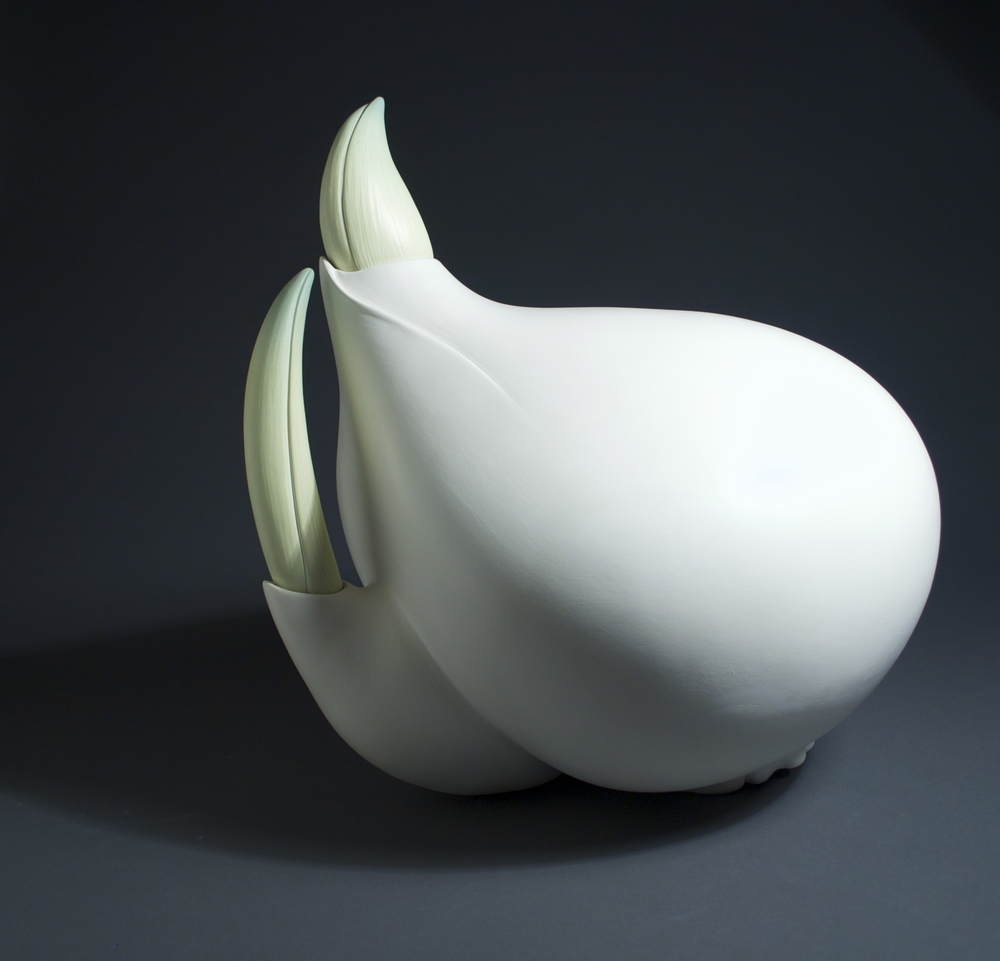 Large Tulip Bulb, white earthenware and terra sigillata