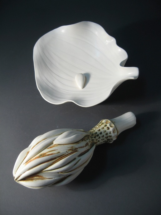 Magnolia Petal Plate with Seed and Magnolia Pod, white earthenware, terra sigillata and oxide