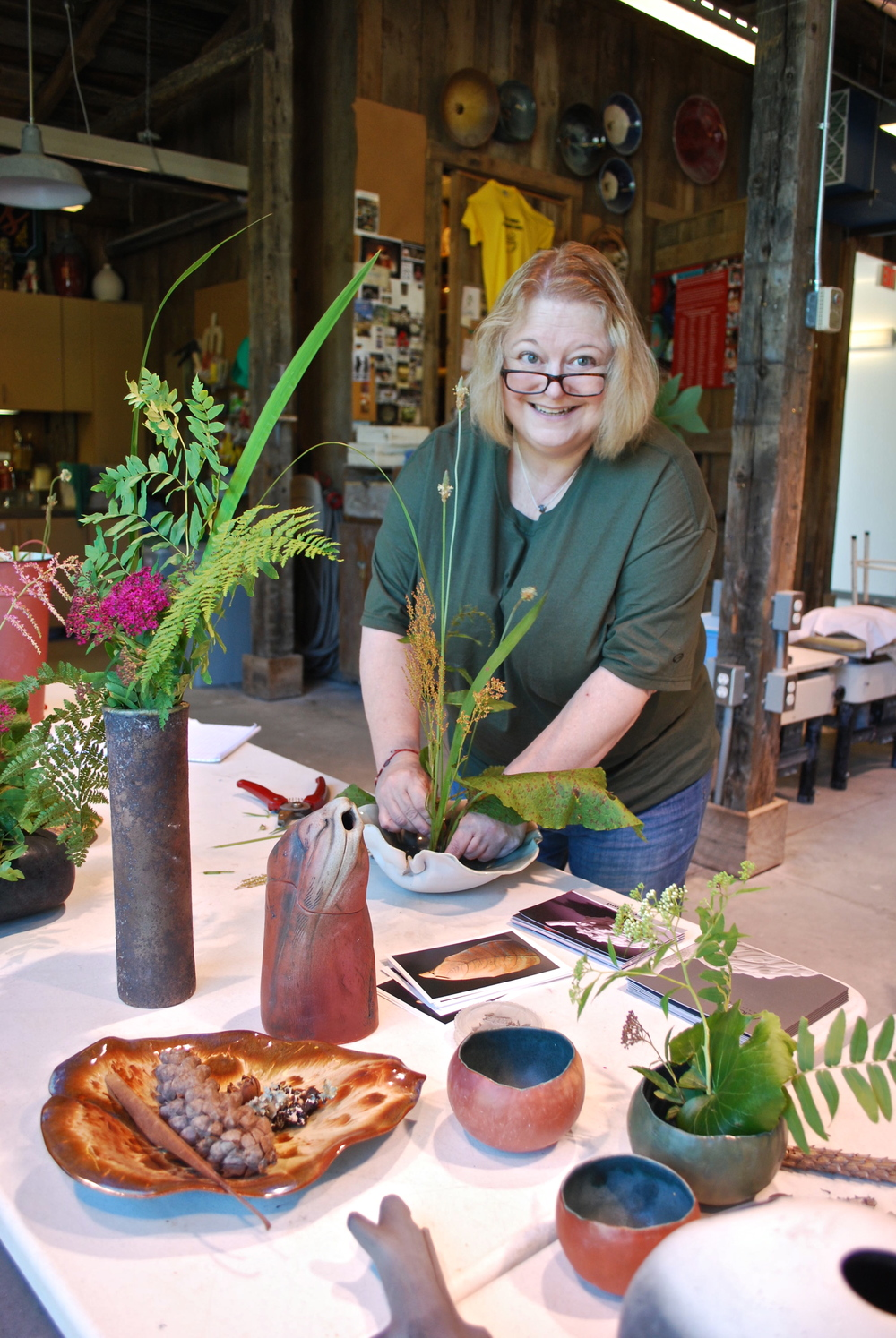 Ralph's demo plus his explanation of the major points of the philosophy and history behind the art of Ikebana proved to be inspirational as we tried our hand with available plant materials...