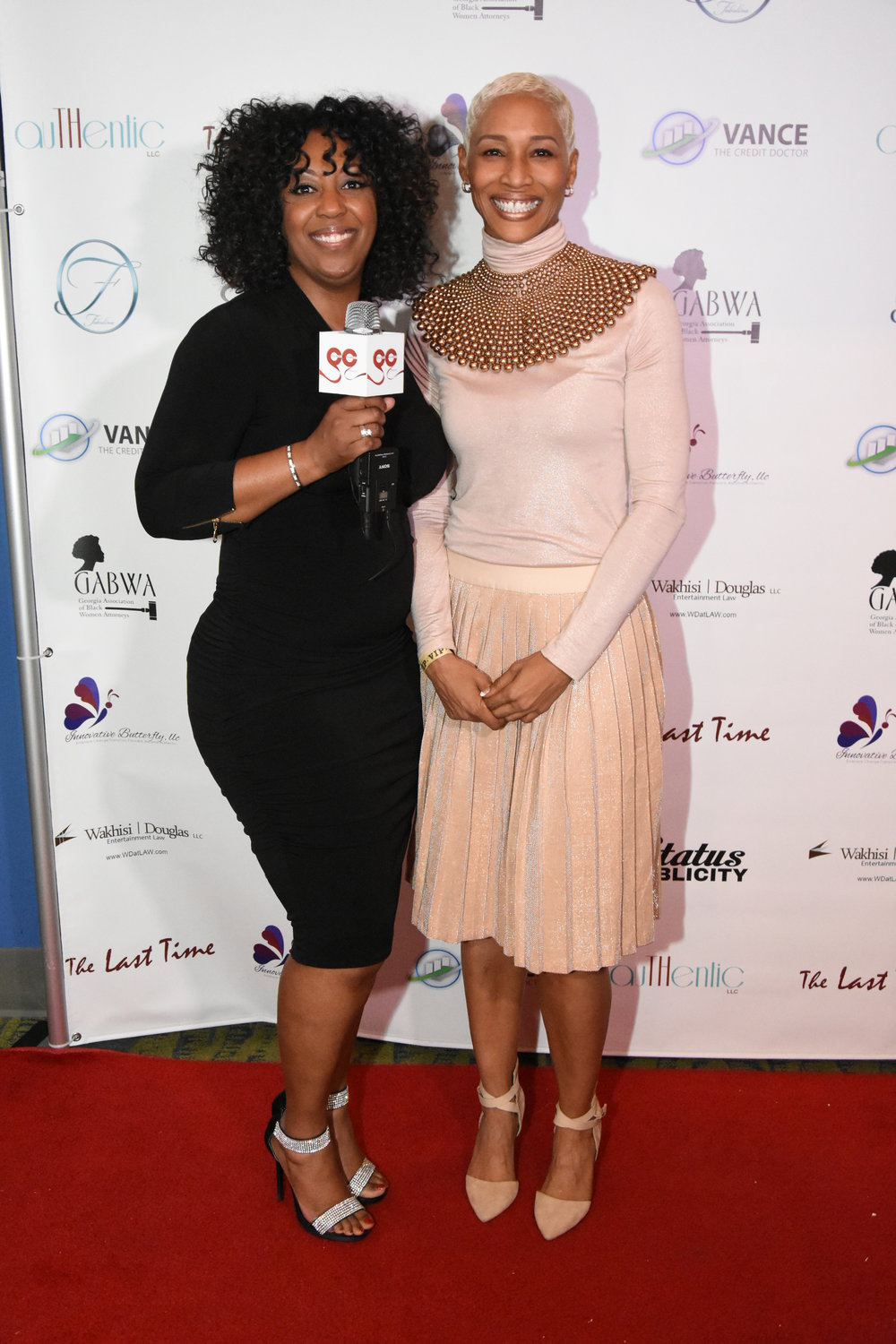 "Celebrity Charity TV Host Tammie Tolbert with Charmin Lee, actress in TV Series ""The QUAD"" and film ""The Last Time,"" at Movie Premier."