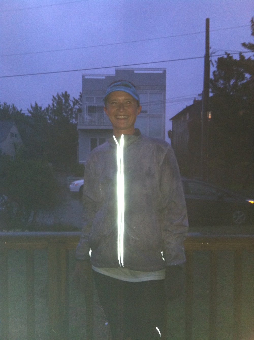 Post-run blissed out. PS can reflective gear just be that shiny always? It's so cool!