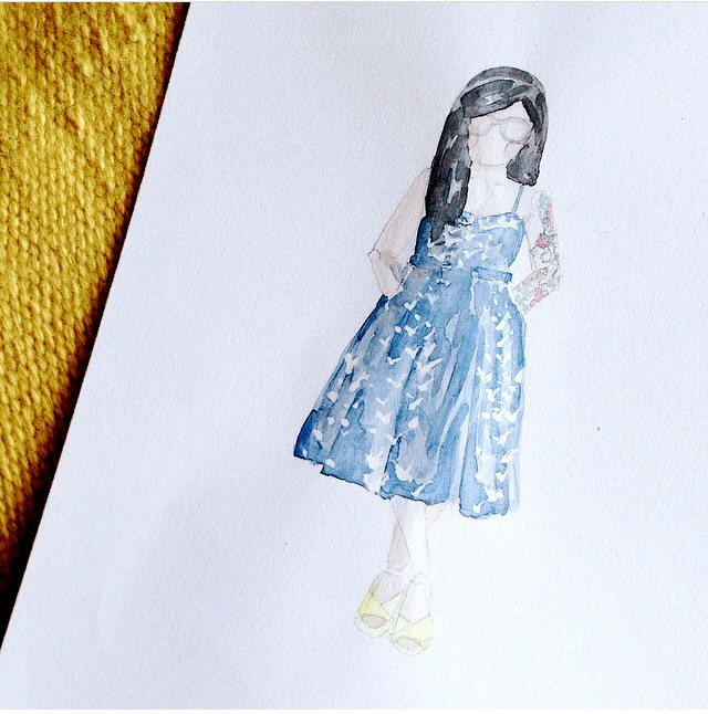 How beautiful is this watercolor? Obviously not because it's me (hehe) but I love the detail- the tattoos, the dress, the shoes. It's beautiful! Thank you again, Lindsay!