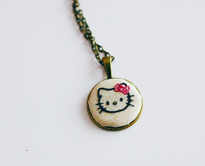 Ruthie sent me an amazing embroidered handmade necklace with my favorite cat on it. Thank you, Ruthie! Get your own from her shop.