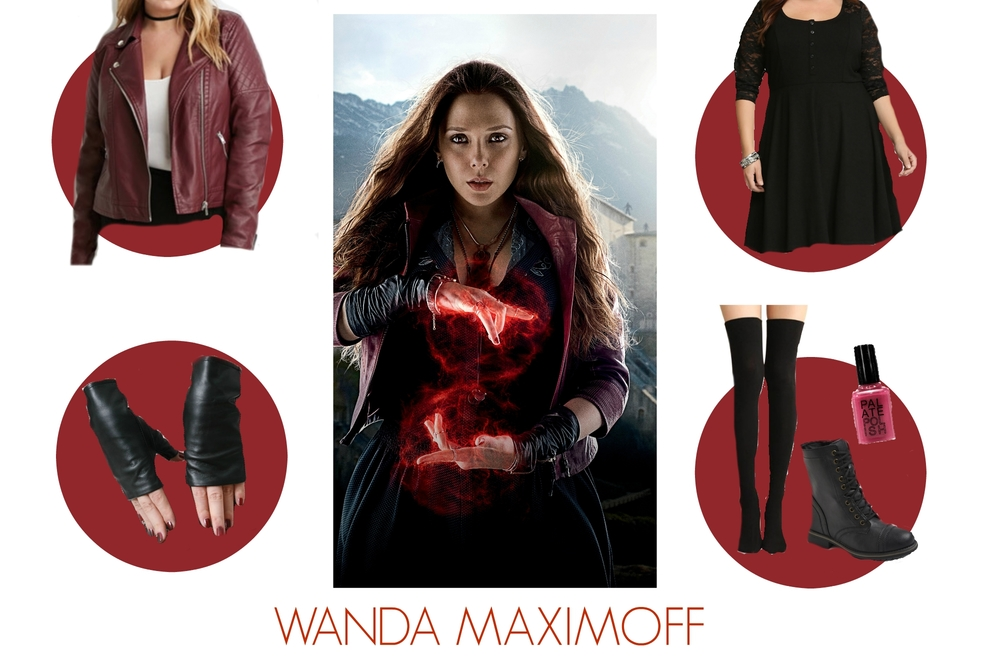 Leather cuffs Runnickyrun on etsy. Lace henley shirt dress Torrid (right now itu0027s BOGO half off. Check website for code). Black combat boots Target.  sc 1 st  Our City Lights & Marvel Monday: Wanda Maximoff Plus Size Costume u2014 our.city.lights