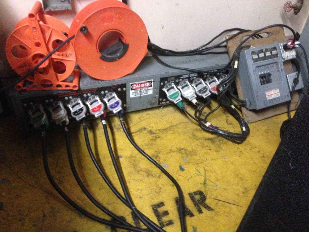 Our 3 phase power. Thank you Kenny for the really long feeder cables and cam locks.