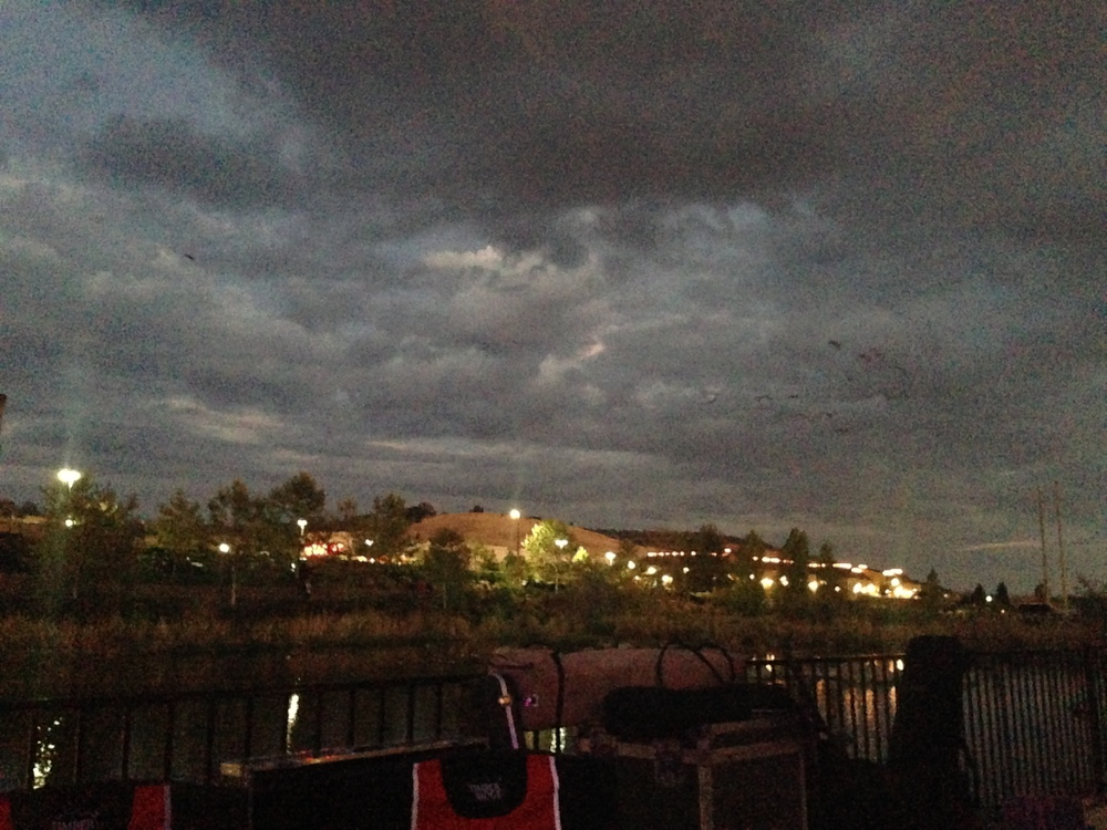 The threatening dark clouds that almost cancelled the show.