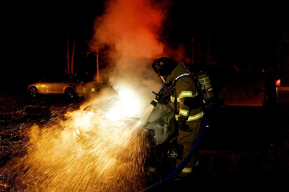 Bostwick Firefighter working a vehicle fire.