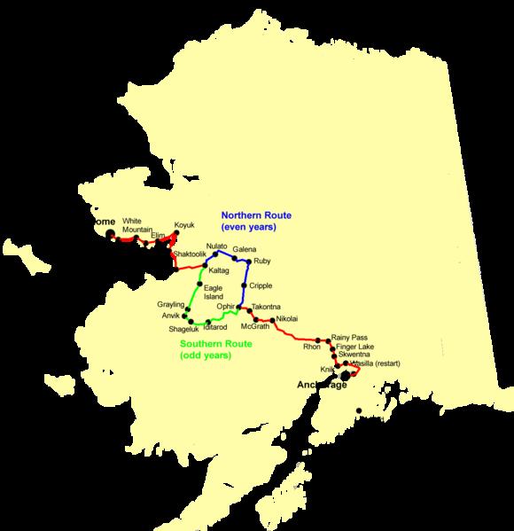 The Iditarod trail across Alaska.