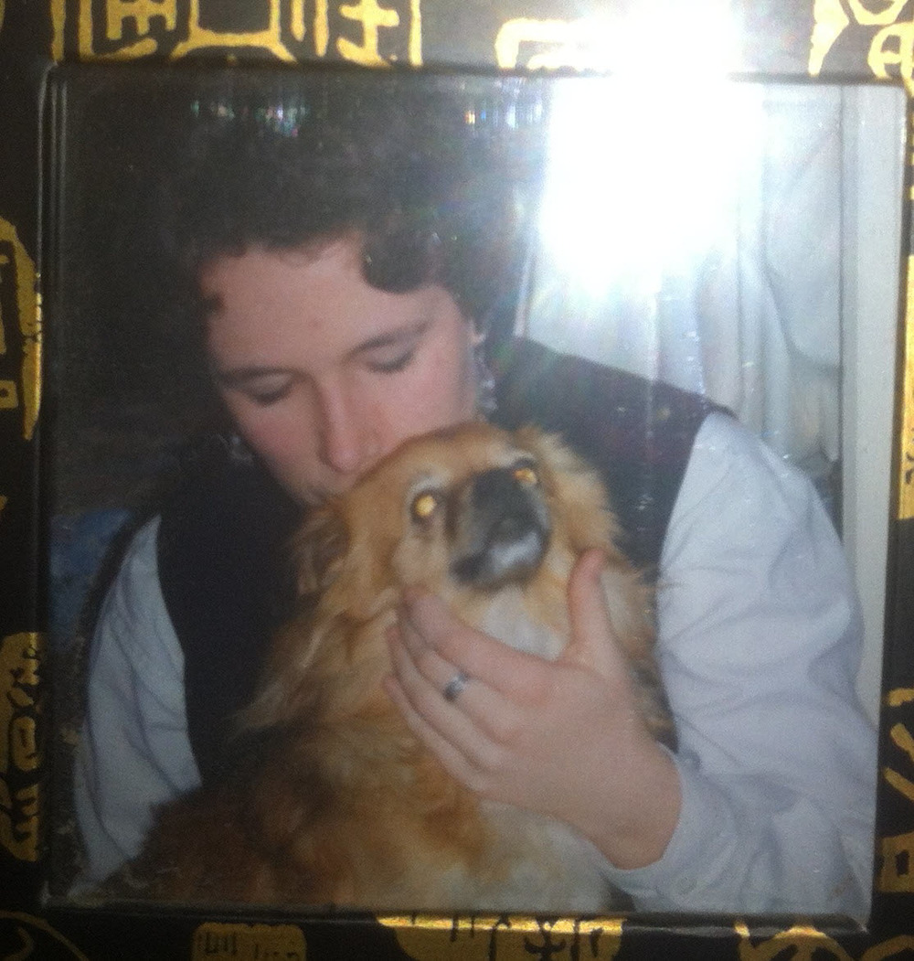 Me... nearly 20 years ago (gulp!)... with my Peke X.