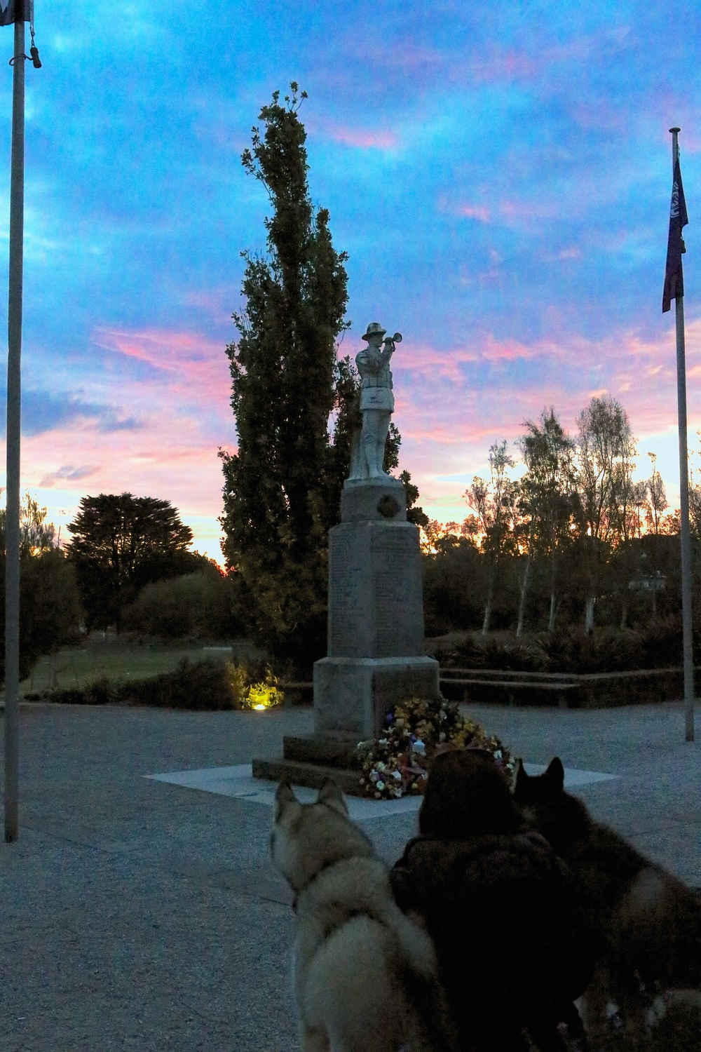 Czar, Frankie and I watch the sunset at one of our local memorials to WWI on ANZAC Day.    Thank you to J for a lovely photo on a special day.