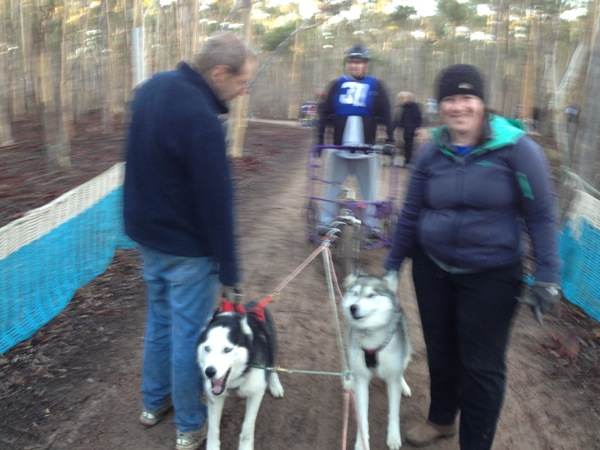 DW and me holding the boys in wheel.  (A photo of me handling without my bum in the air!)