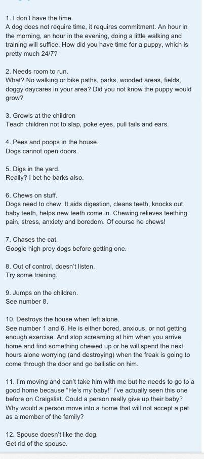 Reasons for surrendering a dog - and answers!  Thanks to KA for this list.