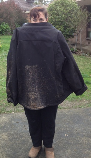 The back of my jacket - tire spray up my back.