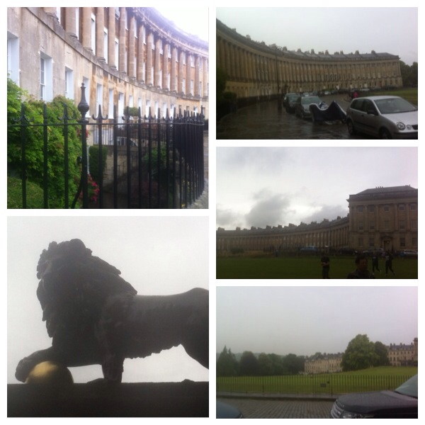 Royal Crescent in the rain. The curve of Georgian houses looks over private lawns to the Botanical Gardens.