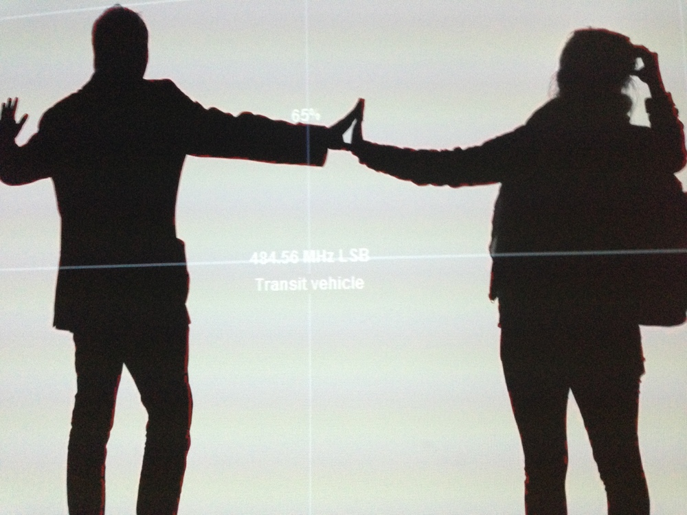Tom and Natalie in Rafael Lozano-Hemmer's Frequency and Volume, Relational Architecture 9