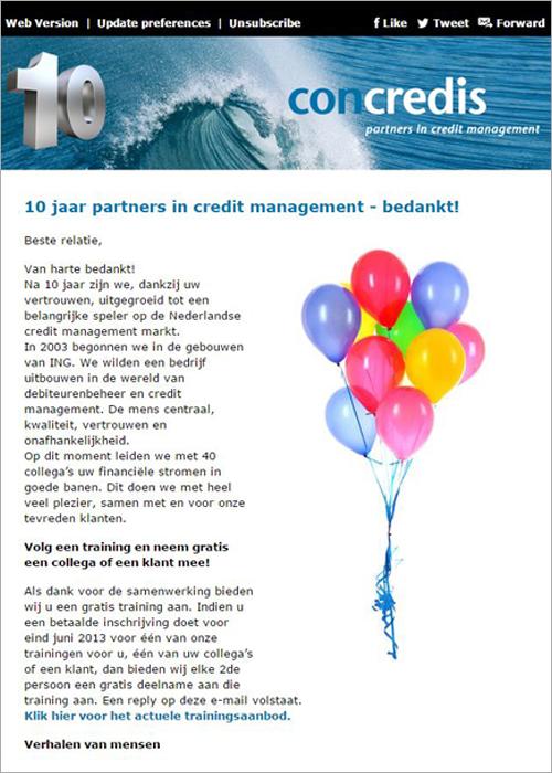 Speciale nieuwsbrief n.a.v. het 10-jarig bestaan van Concredis BV uit Nederland