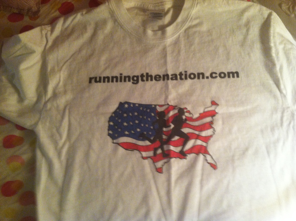 My beautiful Running the Nation t-shirt courtesy of my wonderful parents, Chris & Lee!!!! Barry has a matching one and I can't wait to wear them at our next race!!! :) Isn't the graphic awesome? We love it!