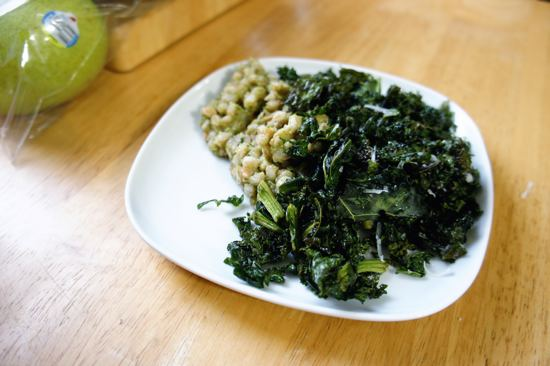 Kale chips with pesto farro and a bag of Costco pears.