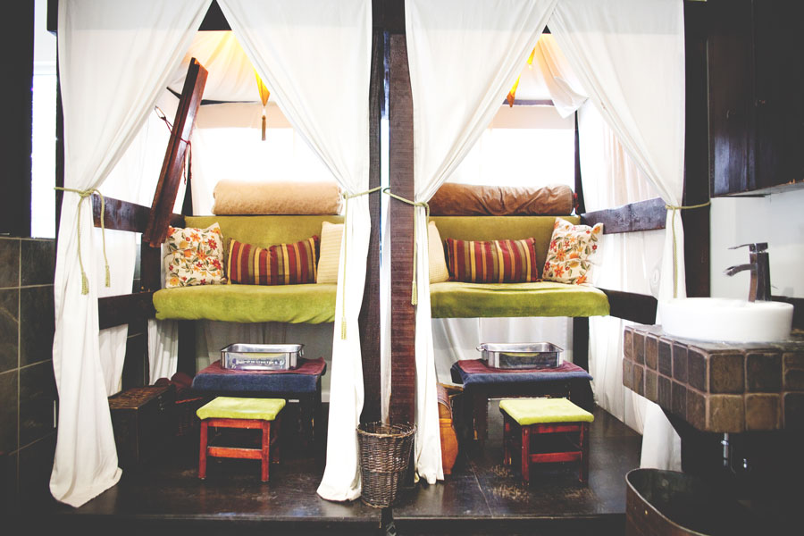 Manicures and pedicures take place in these cozy cabanas.