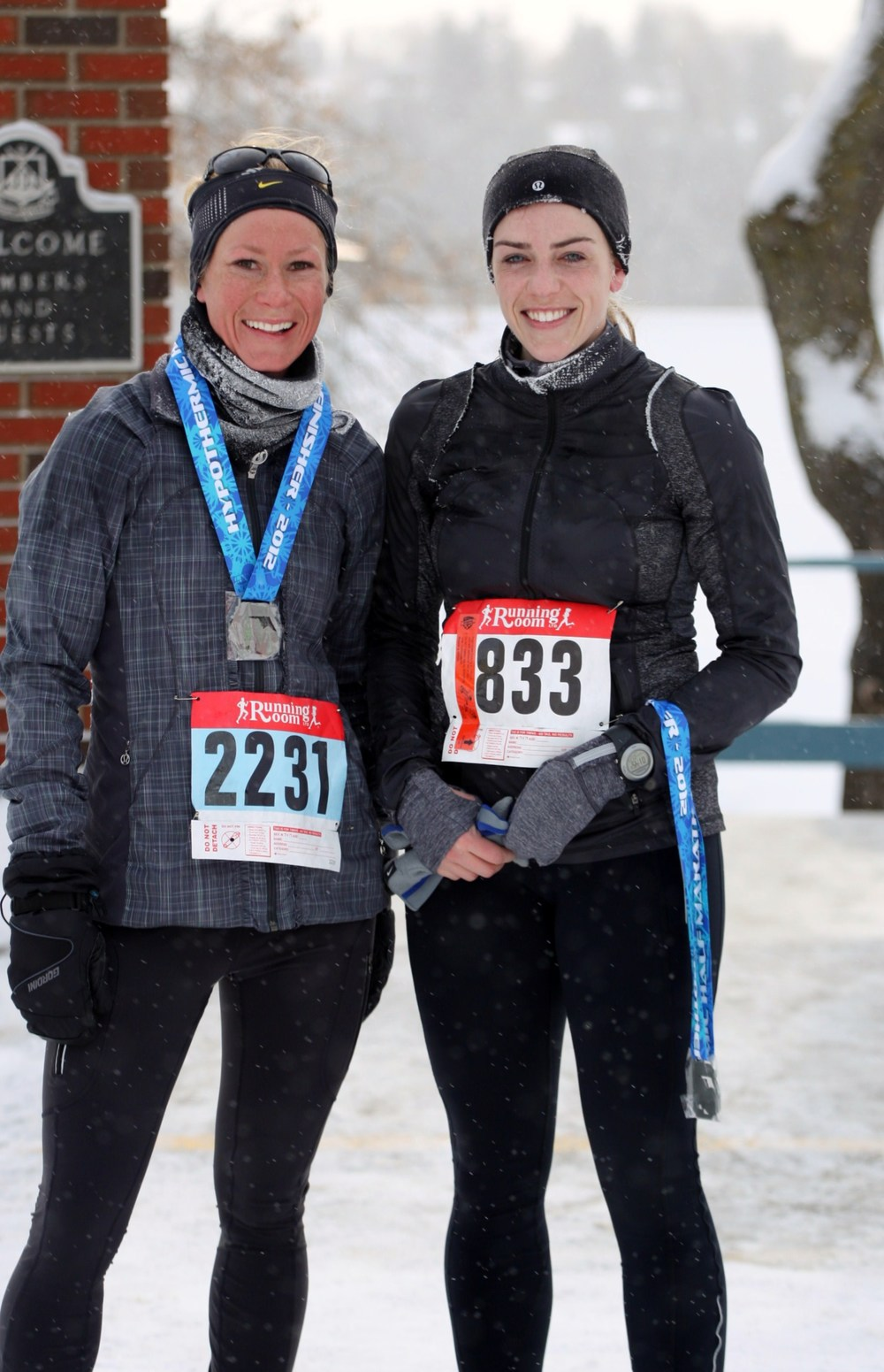 This photo was snapped after running the Edmonton Hypothermic Half Marathon in February 2012. It was super cold and snowy. The winter elements added about 10 minutes to my race time. On the left, my running friend Alissa, and me on the right.