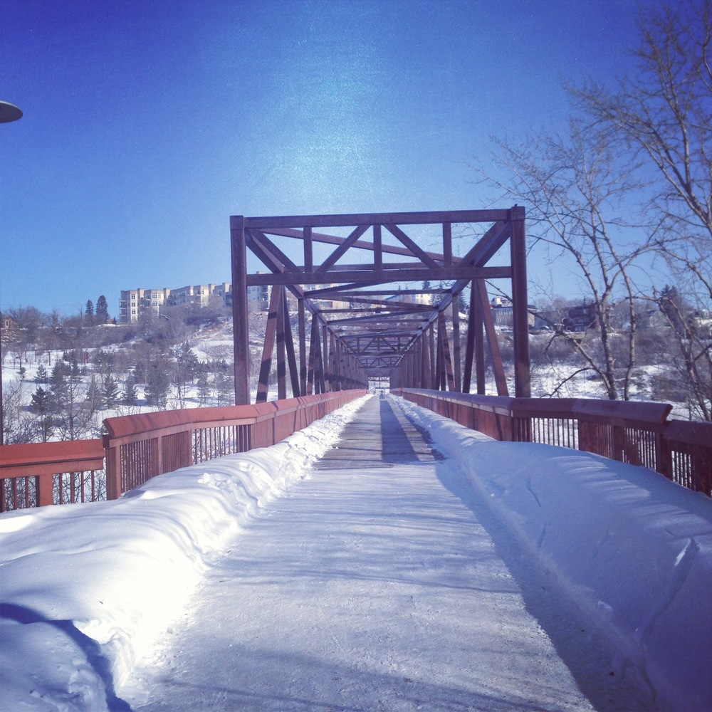 The rewards of winter runs is running outside on beautiful blue sky days.
