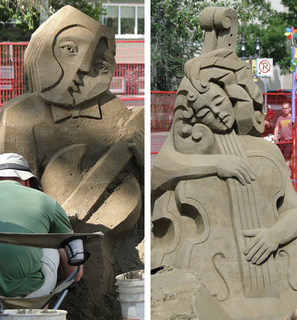 A couple of the sculptures in Sand on Whyte. Images spottedhere.
