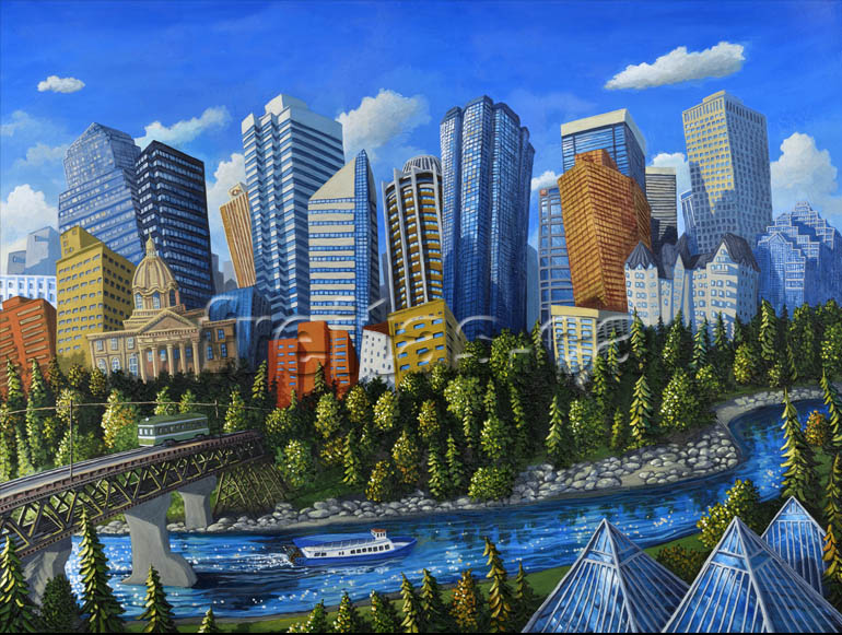 A charming, whimsical interpretation of Edmonton's skyline by Miguel Freitas. This limited edition print is exclusive to Editions Gallery.