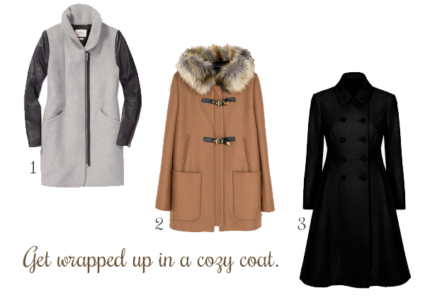 1. Wilfred Cocoon Wool Coat, Aritzia. 2. Duffle Coat with Fur Hood, Zara. 3. Glorious Wool Flared Coat, French Connection.