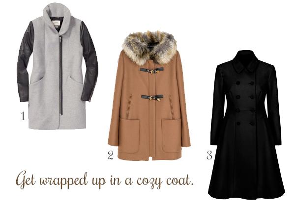 1. Wilfred Cocoon Wool Coat, Aritzia.2. Duffle Coat with Fur Hood, Zara. 3. Glorious Wool Flared Coat, French Connection.